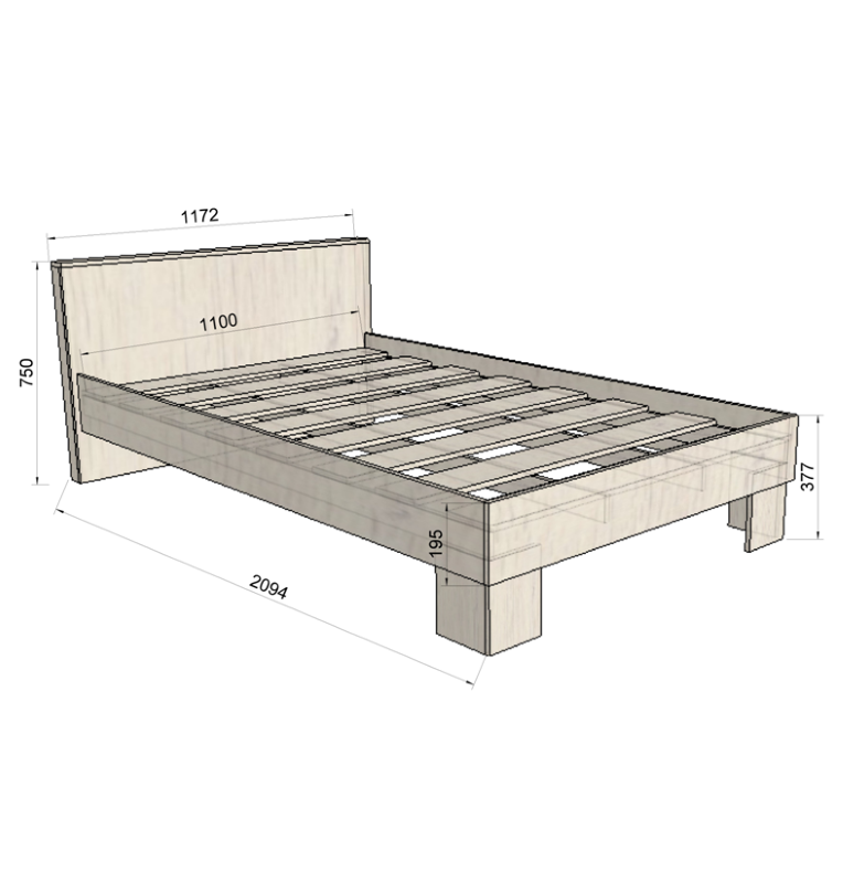 Размер двуспальной кровати своими руками фото